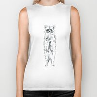 racoon Biker Tanks featuring Wild Racoon by Girard Camille