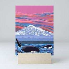Orcas Under the Pink Sky Mini Art Print