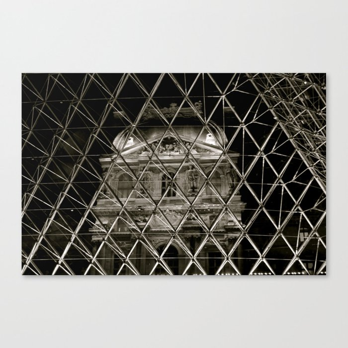 Louvre from inside piramid Canvas Print