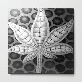 black and white potleaf Metal Print