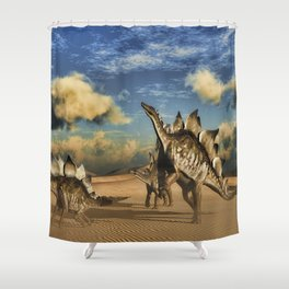 Stegosaurus dinosaur in the desert Shower Curtain