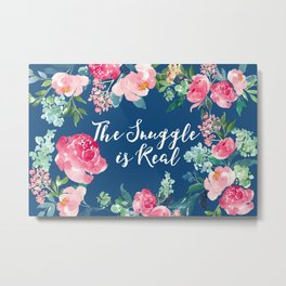 The Snuggle is Real - Blue Floral Metal Print