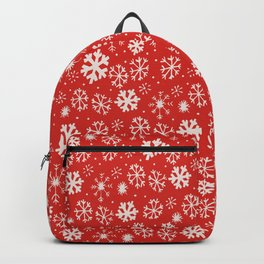 Snowflake Snowstorm With Poppy Red Background Backpack