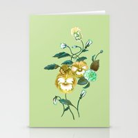 decal Stationery Cards featuring Pansy Decal Green & Gold by ThistleandFox
