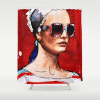 sunglasses Shower Curtains featuring Sunglasses by Ed Pires