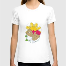 Drama Mask Philippine Sun Hibiscus Sampaguita Flower Mono Line T-shirt