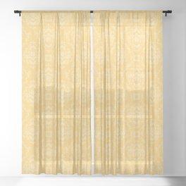 Vector Yellow Damask Pattern Sheer Curtain