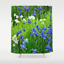 BLUE & WHITE  IRIS FLOWER GARDEN Shower Curtain