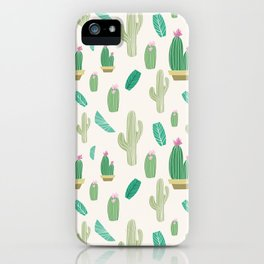 Ivory pastel blush green pink cactus floral iPhone Case