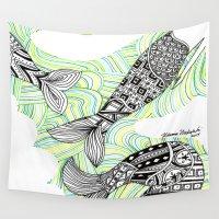 mermaids Wall Tapestries featuring mermaids 4 by winnie patterson
