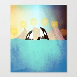Orcas under the Sun Canvas Print