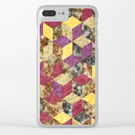 Colorful Isometric Cubes VII Clear iPhone Case