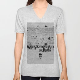 Holy-place, religious jewish men talking | The Western Wall in the Old City, Jerusalem, Israel | Fine art print photography Art Print Unisex V-Neck
