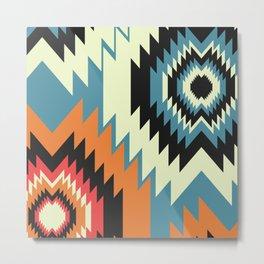 Navajo shapes in orange and blue Metal Print