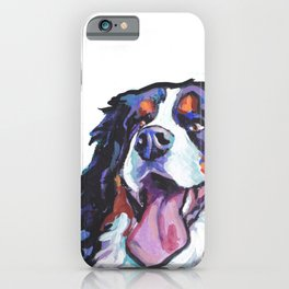 Berner Bernese Mountain Dog Portrait Pop Art painting by Lea iPhone Case
