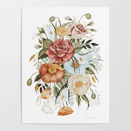Roses and Poppies Poster