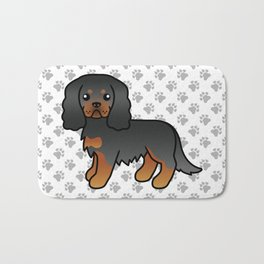 Cute Black And Tan Cavalier King Charles Spaniel Dog Cartoon Illustration Bath Mat
