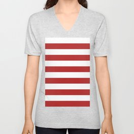 Horizontal Stripes - White and Firebrick Red Unisex V-Neck