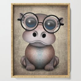 Cute Nerdy Baby Hippo Wearing Glasses Serving Tray
