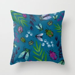 Jewel Bugs Boho Tropical Throw Pillow