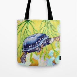 Swimming Spotted Turtle, Turtle Art Tote Bag