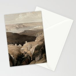 Vintage Print - The Holy Land, Vol 2 (1843) - Wilderness of Engedi, with the monastery of St. Saba Stationery Cards