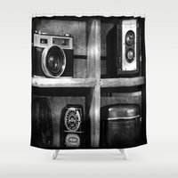 cameras Shower Curtains featuring Old Cameras by Deb Adkins