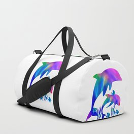 Rainbow Dolphins swimming in the sea Duffle Bag
