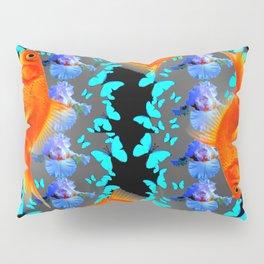 PATTERNED  BLUE BUTTERFLIES GOLD FISH & BLACK ARTWORK Pillow Sham