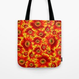 Red Glowing Gerbera Daisies Tote Bag