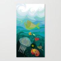 mermaids Canvas Prints featuring Mermaids by Caroline Krzykowiak