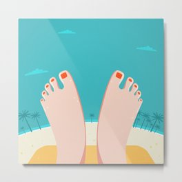 Feet on Beach Metal Print