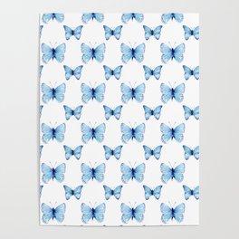Blue Butterflies Pattern Butterfly Watercolor Poster