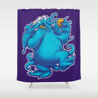cookie monster Shower Curtains featuring CTHOOKIE MONSTER by BeastWreck
