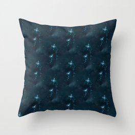 Blue Sparkling Butterflies In The Night Throw Pillow