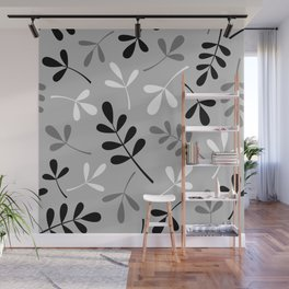 Assorted Leaf Silhouettes Monochrome Wall Mural