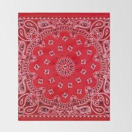 Paisley - Bandana Art - Red - Southwestern Throw Blanket