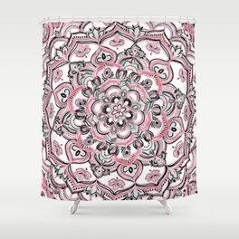 Magical Mandala in Monochrome + Pink Shower Curtain