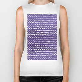 Abstract violet white watercolor geometrical chevron zigzag Biker Tank