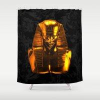 versace Shower Curtains featuring Gangsta Pharaoh II Gold & Versace by KARAM