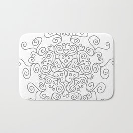 Gray Line Swirl Mandala Bath Mat