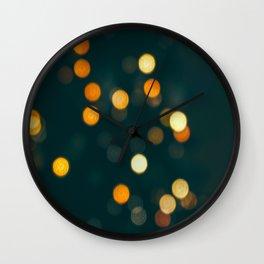 Bokeh Blurred Lights Shimmer Shiny Dots Spots Circles Out Of Focus Wall Clock