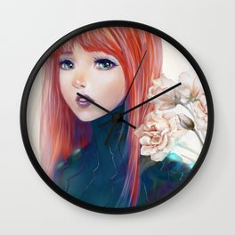Captain Goldfish - Anime sci-fi girl with red hair portrait Wall Clock