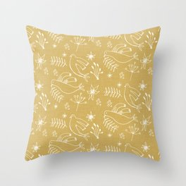 Christmas Dove Beige Throw Pillow