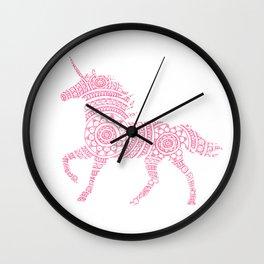 Pink Unicorn Circle Art Wall Clock