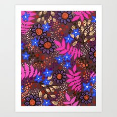 Midnight Forest Flowers Art Print