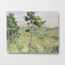 Paul Cézanne,  Mont Sainte-Victoire and the Viaduct of the Arc River Valley. For fine art lovers. Metal Print