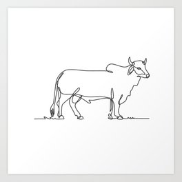 Brahman Bull Standing Side View Continuous Line Drawing Black and White Illustration  Art Print
