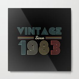 Vintage since 1983 37th Birthday Men Metal Print