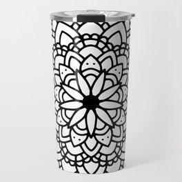 Black floral mandala Travel Mug